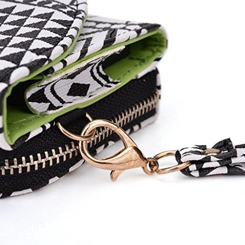 Kroo d'embrayage avec dragonne Portefeuille 16cm Smartphones et phablettes pour Sony Xperia T2Ultra Multicolore - Brun Multicolore - Noir/blanc