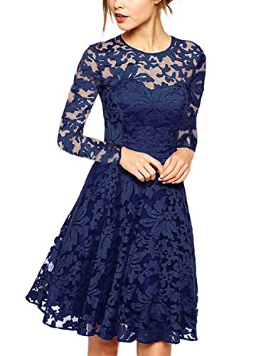 Frauen Elegantes Spitzenkleid Langarm Knielangen A-Line Hochzeit Prom Party Cocktailkleider Royal Blue S (Zurück Kleid Prom)