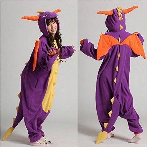 Imagen de adulto unisexo spyro el dragón púrpura dragón de china verde onesie fiesta disfraz de kigurumi con capucha pijama sudadera ropa para dormir regalo de navidad spyro el dragón púrpura, s height 150cm 160cm