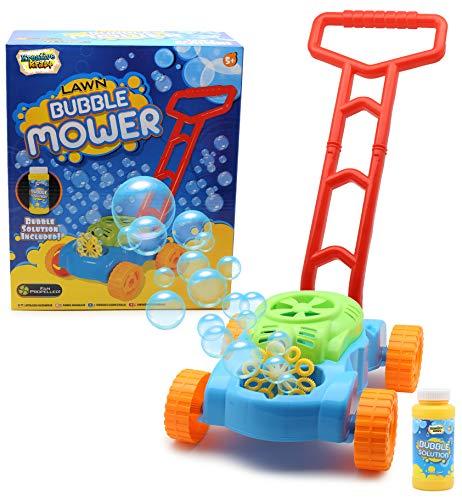 KreativeKraft Seifenblasen Rasenmäher Gartenspielzeug Für Kinder Und Kleinkinder Mit Bubble Machine Seifenlösung Enthalten | Geschenkidee Für Kinder Ab 5 Jahren | Gartengeräte Und Zubehör