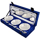 [Sponsored]Jaipur Ace Home Decorative Silver Plated Bowl Set (3 Bowl: 3 Spoon: 1 Tray)