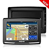 """5"""" GPS Voiture Auto Moto 8GB, HIEHA Appareil de Navigation Écran Tactile, Instructions Vocales, Système de Navigation avec Multi-Languages (Gratuits Cartographie d'europe Mode à Vie)"""