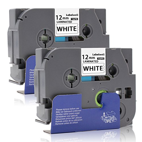 Labelwell 2x Nero su Bianco Compatibile Brother Tze-231 Tze231 Tz-231 Nastri per Etichette per Brother P-Touch GL-H100 PT H100LB H101C P700 E100 D600VP D400VP Etichettatrice (1/2' x 26.2',12mm x 8m)