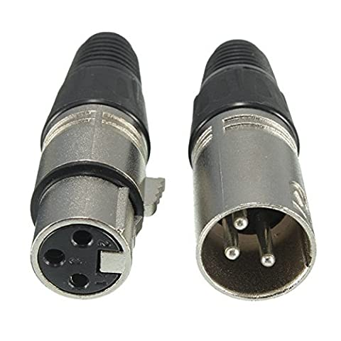 Tutoy Male and Female 3-Pin XLR Microphone Audio Cable Plug Connectors