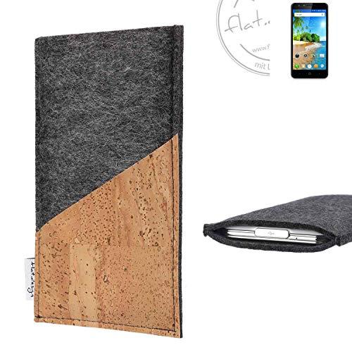 flat.design Handy Hülle Evora für Doogee Y6C handgefertigte Handytasche Kork Filz Tasche Case fair dunkelgrau