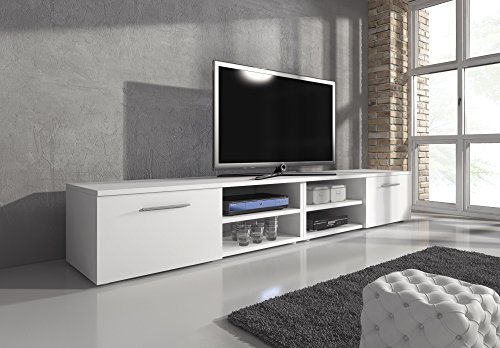 TV Möbel Lowboard TV-Element TV Schrank TV-Ständer Entertainment Vegas weiß matt 240 cm (Entertainment-möbel Tv-ständer)
