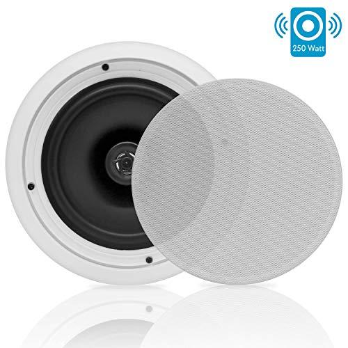"""Pyle PDIC81RD Système De Haut-Parleurs Pour Dans les Murs au Plafond Montés Bluetooth 2-voies Midbass 8"""" (20 cm), Blanc"""