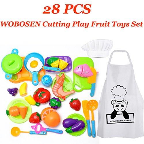 28 Piezas WoBoSen Cocina Juguete Niños Juguete Plástico de Corte de Vegetales de Fruta Juego de imaginación Juego de rol de Niños y Sombrero de Chef Delantal (Juguetes de cocina)