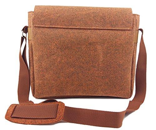 Venetto Herrentasche Messenger Bag Schultertasche Umhängetasche Handtasche Herren Filztasche Tasche aus Filz mit Echtleder-Applikationen für 13 MacBook, Notebook, Laptop, Ultrabook (Schwarz) Orange meliert