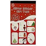Pegatinas de Navidad de Papel de Aluminio x 100 Rojas y Verdes para Etiquetas de Regalos