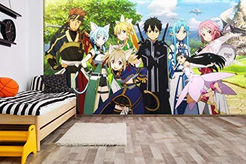 3D Sword Art Online Japanese Anime Benutzerdefinierte Größe Fototapete Wandbild Wallpaper Mural Wand Tapete Jungen Mädchen Kinder Schlafzimmer Wandkunst Raumdekor 200cmx140cm