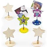 """Fotohalter """"Stern"""" aus Holz zum Basteln und Dekorieren für Kinder ideal zu Weihnachten - 4 Stück"""