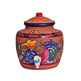 #9: MITTI MAGIC'S - BROWN CLAY KITCHEN WATER POT ( 13 LTRS ) : Hand printed using Water Acralic's & Comfortable Flip Tap (Height 15 inches, Width 13.5 Inches & Weight 5.5Kg Approx) (AVAILABLE IN RANDOM PRINTS & RANDOM FLORAL COLOURS)