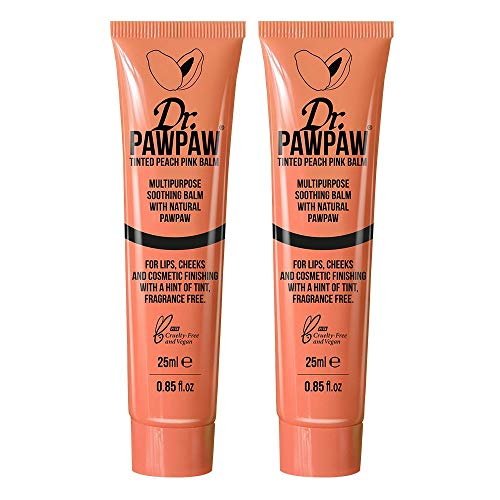 Lippenbalsam-duo-pack (Dr. PAWPAW Tinted Peach Pink Balm, Multi-Purpose Balm, For Lips, Cheeks & Other Cosmetic Finishing, 2 x 25ml Duo Pack)