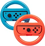 Switch Steering Wheels, Anti-Slip, Anti-Sweat Joy-Con Wheel for Nintendo Switch-Red and Blue