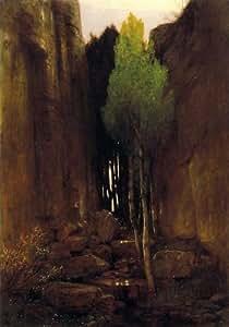 Peinture à l'huile - 22 x 32 inches / 56 x 81 CM - Arnold Bocklin - Source Parois rocheuses Entre...