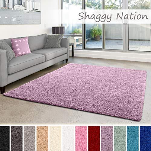 Shaggy-Teppich | Flauschiger Hochflor für Wohnzimmer, Schlafzimmer, Kinderzimmer oder Flur Läufer | einfarbig, schadstoffgeprüft, allergikergeeignet | Pastell Lila - 40 x 60 cm