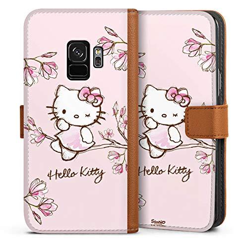 DeinDesign Tasche kompatibel mit Samsung Galaxy S9 Leder Flip Case Ledertasche Hello Kitty Merchandise Fanartikel Magnolia