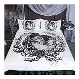 CSYPYLE Skull Bedding SetHochzeit Kleid Bettbezug 3Pcs Paare Vintage Home Textilien Floral Top Bett Set, Super König