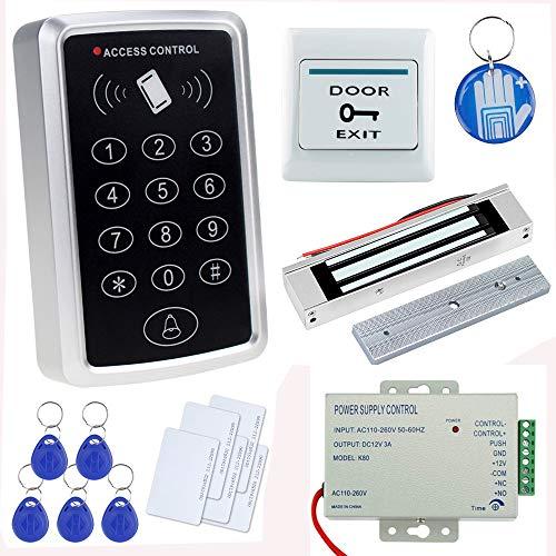 OBO HANDS Kit Completo Completo para Sistema de Control de Acceso a la puerta Lector de Tarjeta T11 + Cerradura Magnética 180KG + Fuente de Alimentación + Botón de Salida + Tarjetas de Identificación
