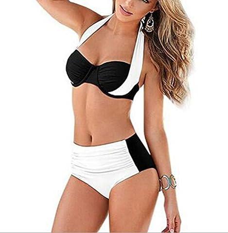 SunIfSnow Bikini - Maillot deux pièces - À Fleurs - Sans Manche - Fille Blanc Blanc