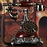 Holz Wählscheibe Vintage Telefon,Pastoral Europäisch Style Nostalgisch Dekoration Ornament Retro Antiquität Festnetzanschluss Schnurgebundenes Telefon-C 20x20x28cm