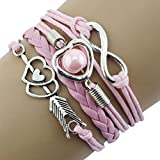 Uhren, erthome Damen Armband Diamant Kreis Uhr Student Mode Table Muttertag Geschenk (Lederarmband Hell Pink)