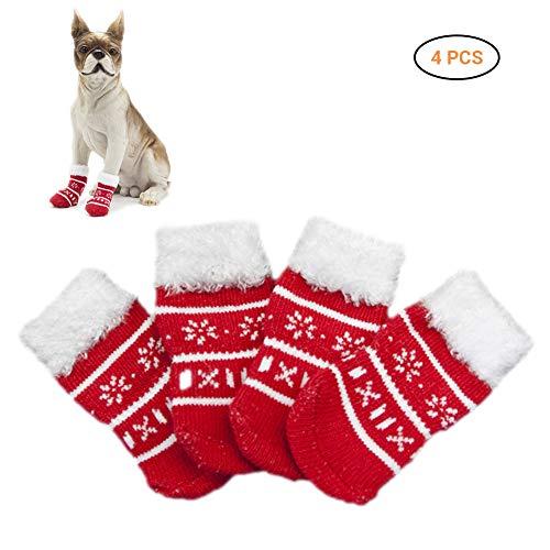 EisEyen Weihnachten Hundesocken Anti-Rutschsocken Hundeschuhe Pfotenschutz Wasserdicht für Mittlere und Große Hunde 4er/Set S-XL(Weihnachtsbaum/Weihnachtsbaum/Schneemann/Elch)