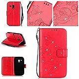 BoxTii Galaxy S3 Mini Hülle [mit Frei Panzerglas Displayschutzfolie], Bling Glitter Schutzhülle, Ledertasche Handyhülle mit Kartenfächern für Samsung Galaxy S3 Mini (#2 Rot)