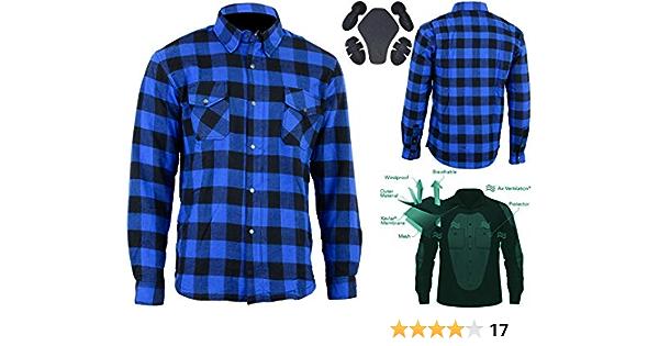 XS Motorrad Motorrad Holzf/äller Kevlar Shirt vollst/ändig gesch/ützt mit abnehmbaren CE gepanzerte Premium Qualit/ät Flanell Grau /& Schwarz