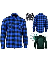 Bikers Gear Australia - Camisa protectora de franela para motocicleta con forro de aramida multicolor Azul y negro. medium