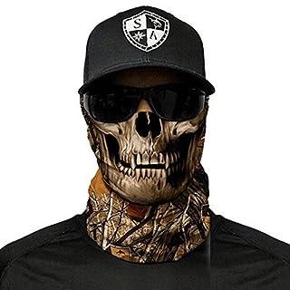 SA Fishing Face Shields ** 40+ Designs verfügbar ** Qualitäts Bandana / Multifunktionstuch / Schlauchtuch / Halstuch aus Stoff & SPF 40 - Face Masks von SA Company, Forest Camo Skull
