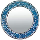 Mosaic Mirror For Wall Decor - Light Blue Crackled Glass