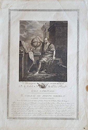 Le Philosophe Democrite. Kupferstich von Lorieux nach Ribera.