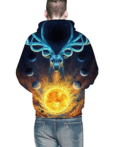 KamiraCoco Herren Pullover Slim Fit Kapuzenpullover 3D Druck Hoodie Weihnachten Langram Sweatshirt Kapuzenjacke Sonnengott