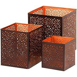 Farol portavelas oriental de metal - Candelabro para el jardín - Decorativo para la mesa - Aleyna 3 piezas - transmite buen ambiente - pasa un buen rato en el jardín