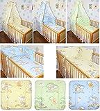5-20 teiliges Baby Bettset mit Bettwäsche Himmel Nestchen BÄRCHEN AUF LEITERN GELB BLAU GRÜN Blau 5 tlg