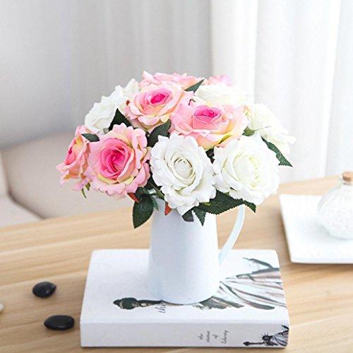 Schön Unechte Blumen, Sonnena 5 Stück Gefälschte Blumen Rosen Seide Kunstblume Bridal Bouquet Hochzeit Blumenstrauß Party Garten Blumen-Bouquet Hortensie Dekoration