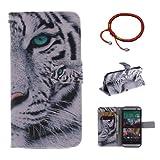 GOCDLJ Schutzhülle für HTC One M8 PU Leder Flip Cover Tasche Ledertasche Handytasche Hülle Handyhülle Case Etui Schale Wallet Ständerfunktion Shell Design Weißer Tiger