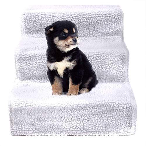 Heheja Hundetreppe Haustiertreppe Pet Walk Treppe Einstiegshilfe Plüschbezug Weiß (Weiß Pet Treppe)