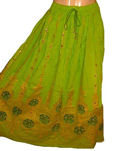 Dancers World Schöner Damenrock, im Boho-Stil, indisch, Hippie, lang, mit Pailletten, für Bauchtanz geeignet, Lime Green with Black (Kostüme Am Hippie Besten)