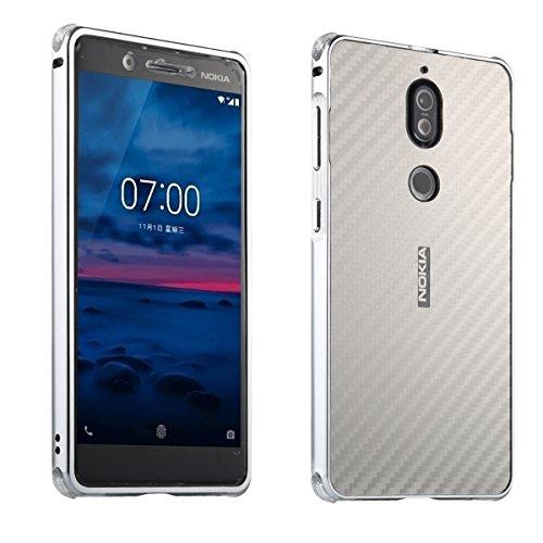 Nokia 7 Carbon Fiber Look Kohlefaser Optik FederLeicht Hülle Bumper Cover Schutz Tasche Schale Hardcase für Nokia 7, Silber