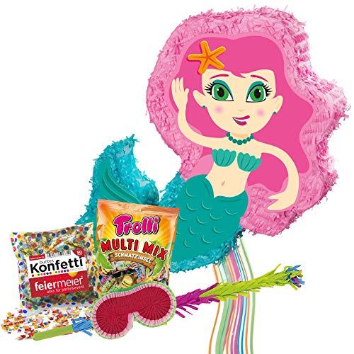 PartyMarty Pinata Set Meerjungfrau Mermaid Pinata & Schläger & Maske & Trolli Süigkeiten 500g Multi Mix & Konfetti bunt 50g ()