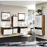Badezimmermöbel Set in Hochglanz weiß, Walnuss ● Badmöbel Komplettset: 2x Waschtisch mit Unterschrank ● 2x Spiegel mit Halogen-Beleuchtung & 2 Hochschränke