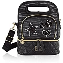 Betsey Johnson Glitter Animal Print Top Handle Insulated Snack Lunch Tote bag - Black