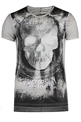trueprodigy Casual Herren Marken T-Shirt mit Aufdruck, Oberteil Cool und Stylisch mit V-Ausschnitt (Kurzarm & Slim Fit), Shirt für Männer Bedruckt, Größe:M, Farben:Ombreblue