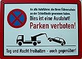 Schild 14x19cm - Parken verboten Einfahrt Ausfahrt Garage Warnschild Tor Alu Coupon dipond