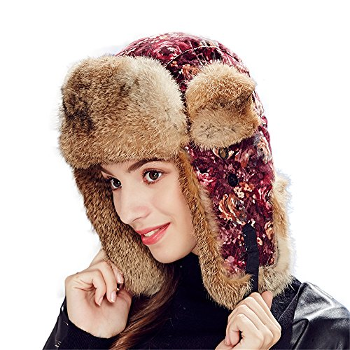 Womens Trapper Hats Ladies Winter Hats Luxury Rabbit Fur Russian Style