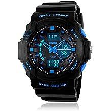 Boys Digital Sports Watch, Kids Electronic Outdoor Watches Waterproof LED Light Analogue Wristwatch