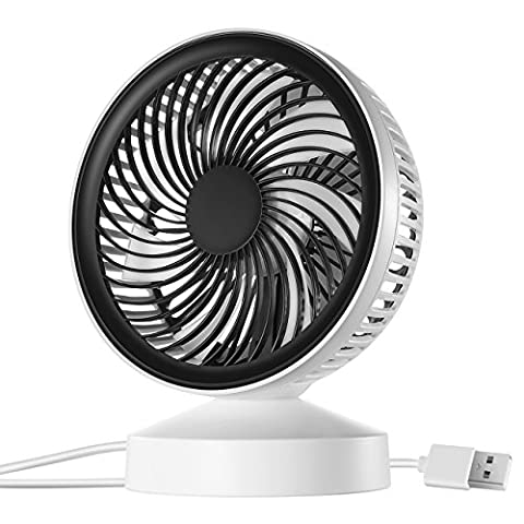 USB Desk Fan, VicTsing Mini Desktop Silent Cooling Fan with Adjustable Angle, ON and OFF Switch Perfect for Laptop Notebook PC Desk Table Fan - White